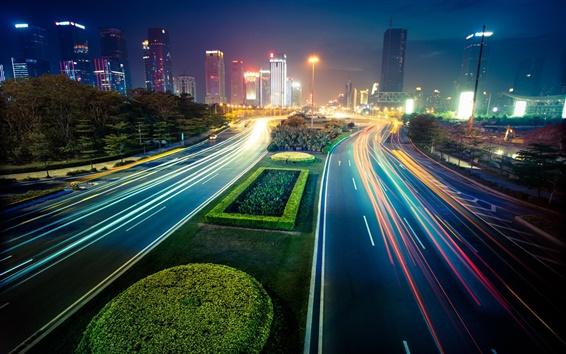 Papéis de Parede Cidade noite, luzes, ruas, edifícios, borrão