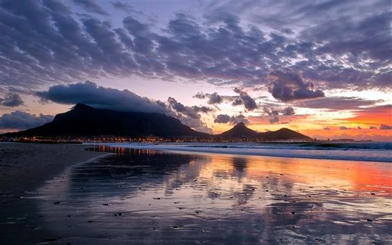 Fond d'écran Côte, coucher de soleil, la mer, la ville, les lumières