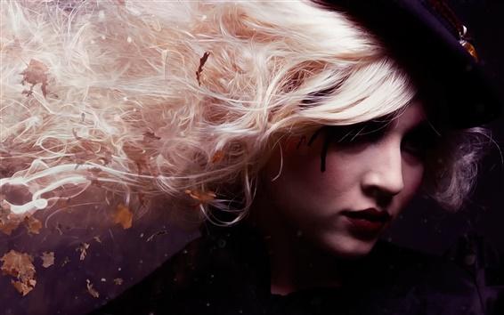 Papéis de Parede Criativas, retrato menina, cabelo, folhas
