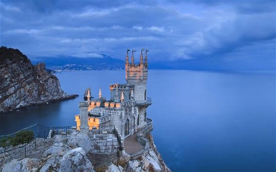 Papéis de Parede Criméia, à noite, costa, azul noite