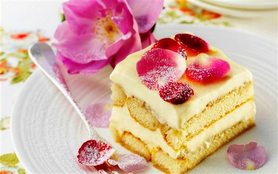 Fond d'écran Dessert, gâteau sucré, roses, pétales