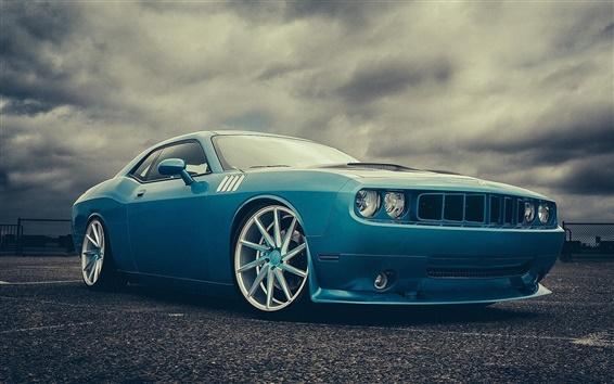 Wallpaper Dodge Challenger blue car