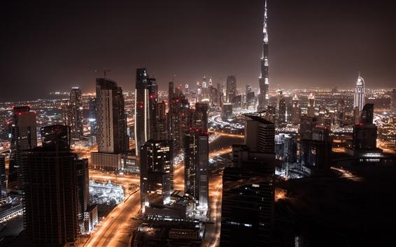 Fond d'écran Dubaï, la nuit de la ville, gratte-ciel, des lumières, des routes