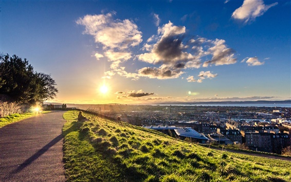 Papéis de Parede Edimburgo, Escócia, pôr do sol, estrada, céu, nuvens