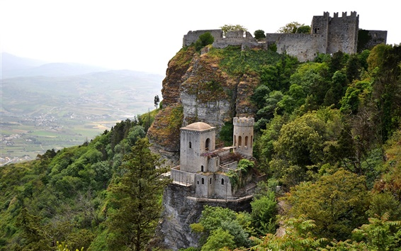 Wallpaper Erice, Sicily, Italy, mountains, valley, sky, castle, trees