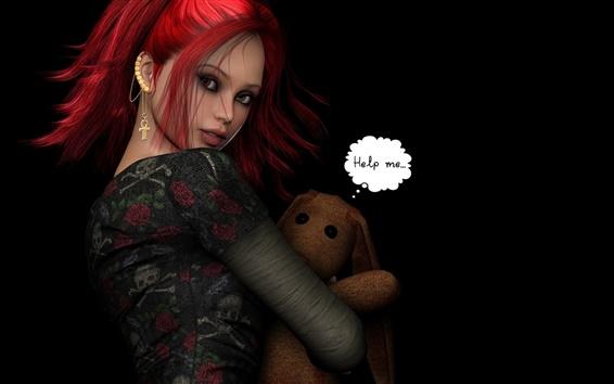 Обои Фэнтези красные волосы девушка с игрушкой медведь