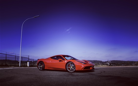 Обои Ferrari 458 Speciale суперкар, сумерки, небо