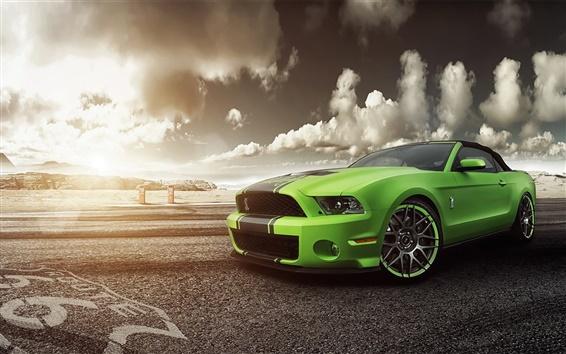 Обои Ford Mustang Shelby GT500 зеленый суперкар вид спереди