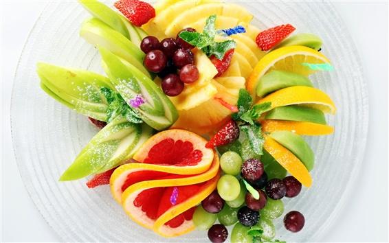 壁紙 フルーツサラダ、イチゴ、パイナップル、キウイ、レモン、リンゴ、ブドウ
