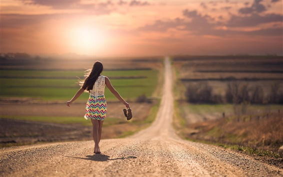 Wallpaper Girl walking in the road, sunset