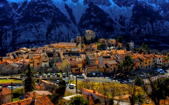 Wallpaper Greolieres, France, town, houses, Alps, tilt-shift photography