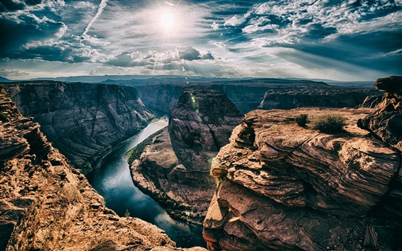 Hintergrundbilder Horseshoe Bend, Arizona, USA, Felsen, Fluss, Sonne, Wolken