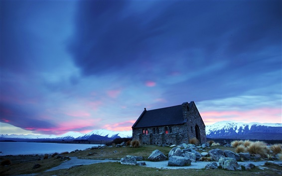 Wallpaper House, mountains, stones, sunset, blue sky
