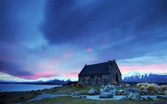 Обои Дом, горы, камни, закат, голубое небо
