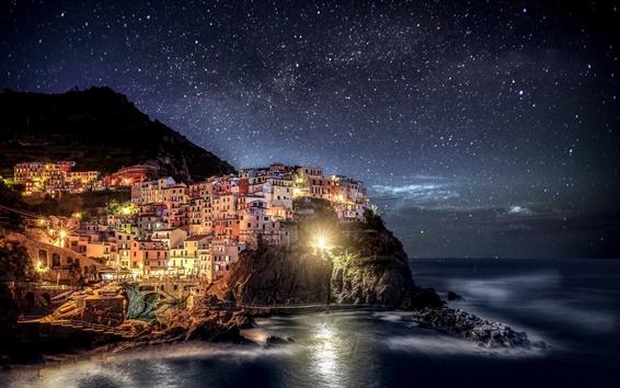 Wallpaper Italy, Liguria, Manarola, Cinque Terre, night lights, house, coast