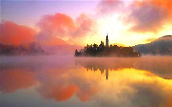 Wallpaper Lake Bled, northwestern Slovenia, warm morning sun, fog