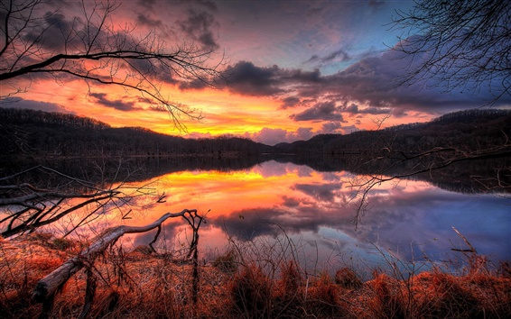 Wallpaper Lake, sunset, evening, forest, trees, water reflection, sky, clouds