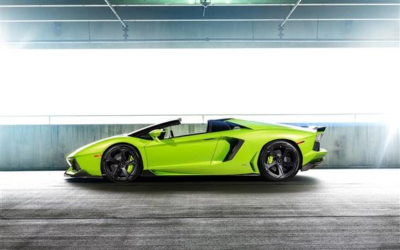 Fond d'écran Lamborghini Aventador LP-740 supercar verte vue de côté