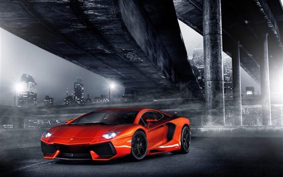 Обои Lamborghini Aventador LP700-4 оранжевый суперкар в город ночью