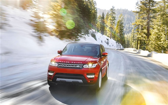 Wallpaper Land Rover Range Rover red car in winter