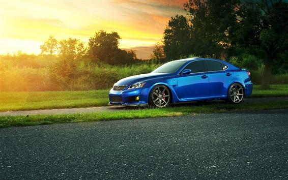Обои Lexus IS-F синий автомобиль вид сбоку