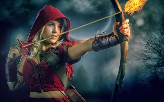 Wallpaper Little Red Riding Hood, beautiful girl