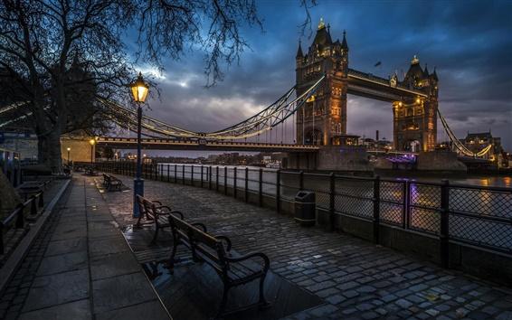 Wallpaper London, England, Tower Bridge, river, sidewalk, benches, lights, evening