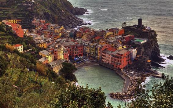 Fond d'écran Manarola, Cinque Terre, Italie, maisons, mer Ligure, sur la côte