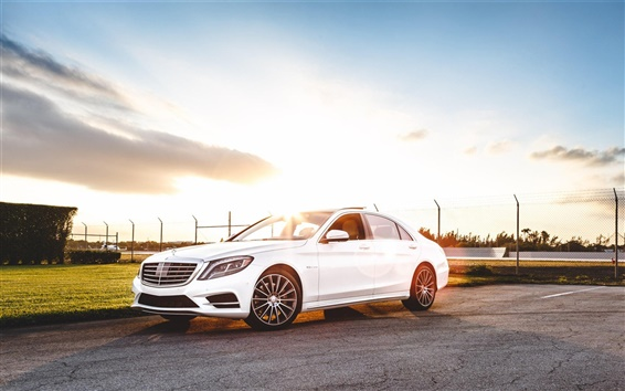 Wallpaper Mercedes-Benz S550 AMG white car at sunset