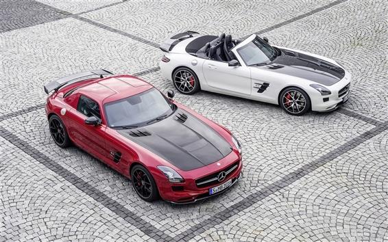 壁紙 メルセデスベンツSLS AMG、赤と白の車