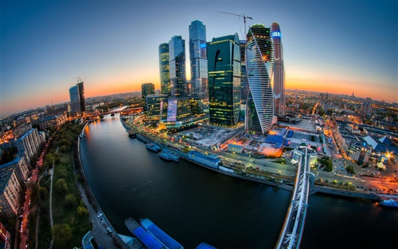 Wallpaper Moscow City, river, bridge, sunset, buildings, lights