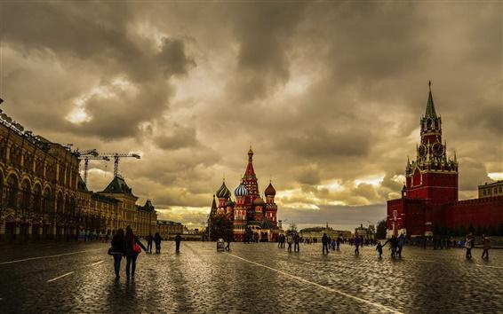 Papéis de Parede Moscou, Praça Vermelha, crepúsculo, céu nublado