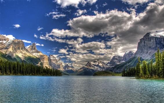 Fond d'écran Parc national du Canada, le ciel, la mer, les montagnes