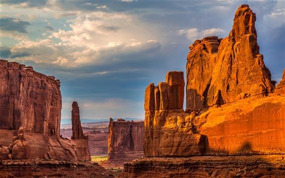 壁紙 自然、崖、峡谷、岩、砂漠、空、雲