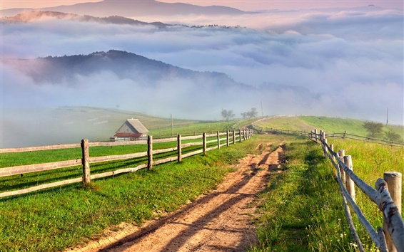 Wallpaper Nature scenery, countryside, mountains, grass, mist, village, road
