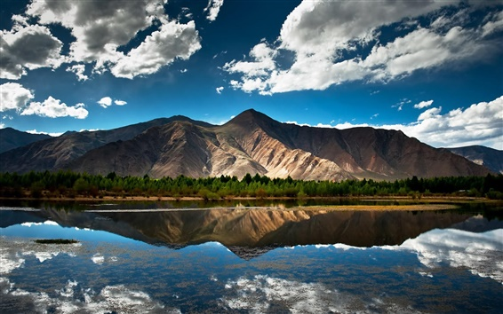 Wallpaper Nature summer, lake, mountain, forest, sky, clouds, water reflection