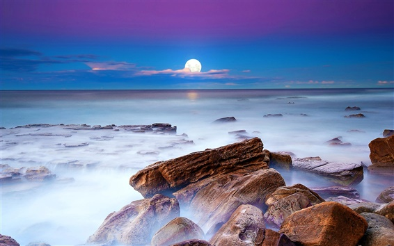 Wallpaper Night, moon, sea, stones