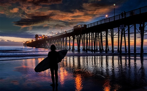 Wallpaper Night, sea, surfer, waves, pier, people