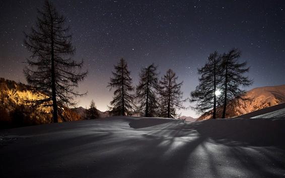 Обои Ночь, зима, снег, горы, деревья, звезды, природа пейзаж