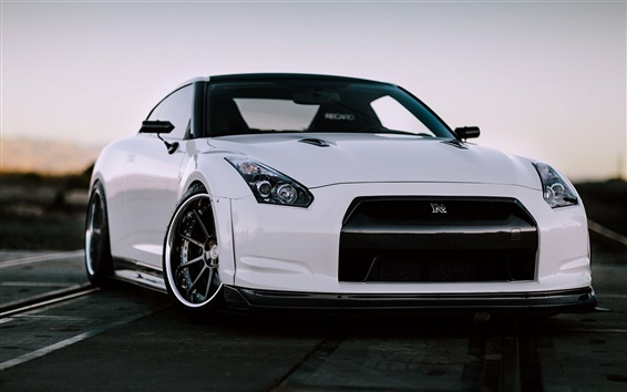 Wallpaper Nissan GT-R R35 white car front view