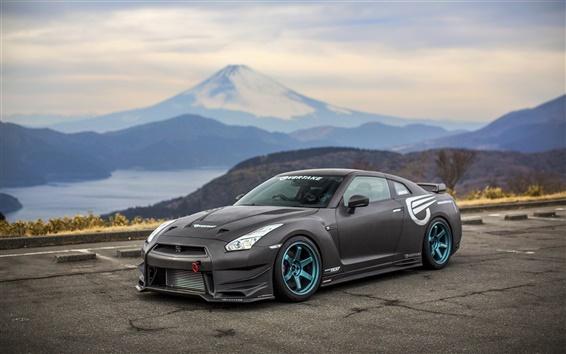 Обои Nissan GT-R вид сбоку черный суперкар