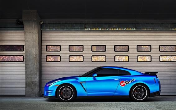 Обои Nissan GT-R синий автомобиль вид сбоку