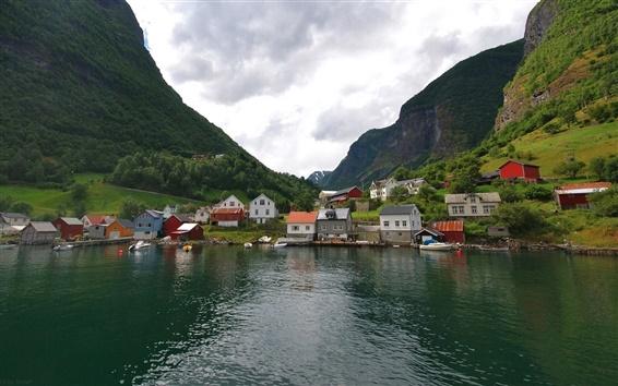 Wallpaper Norway, mountains, houses, village, lake