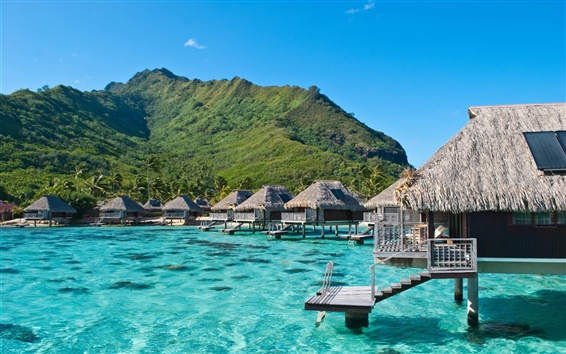 Wallpaper Ocean, sea, mountain, wooden houses, Moorea, French Polynesia