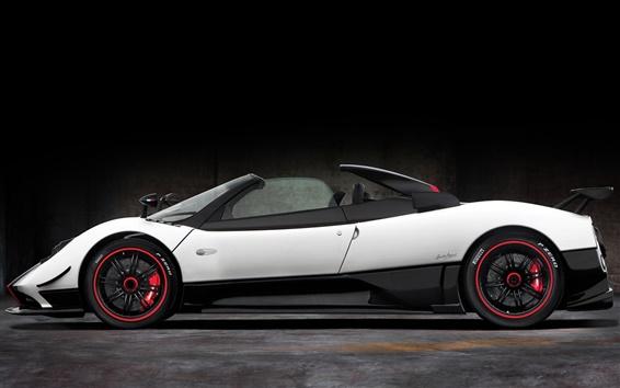 Wallpaper Pagani Zonda roadster, white supercar side view