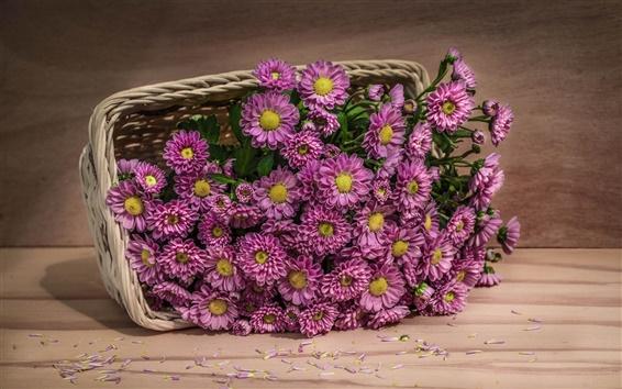 Wallpaper Pink flowers, basket