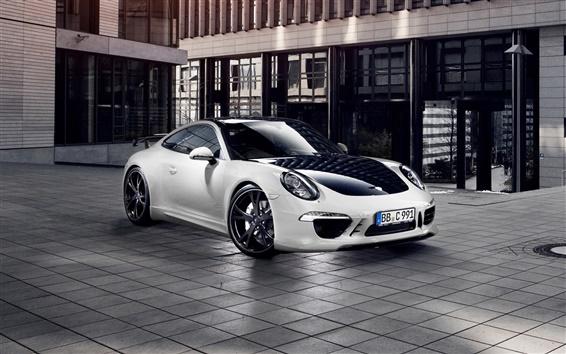 Обои Porsche 911 Carrera 4 белый автомобиль