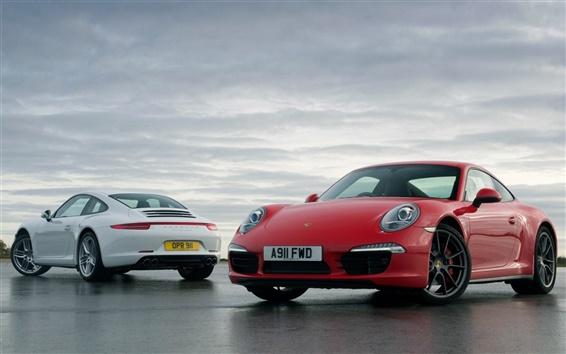 Wallpaper Porsche 911 white and red supercar