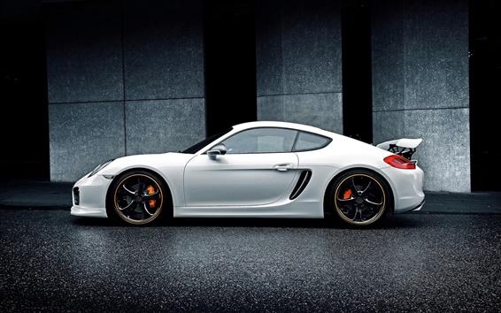 Обои Porsche Cayman белый автомобиль