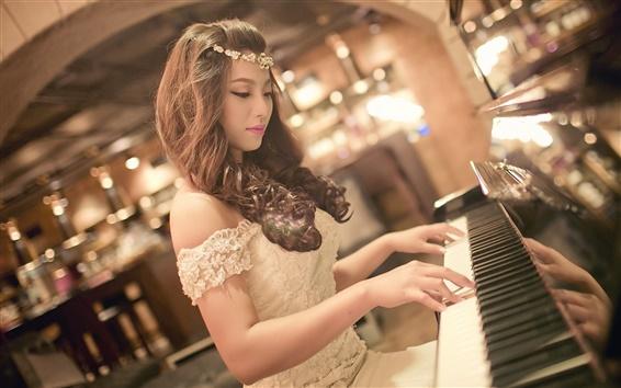 Papéis de Parede Consideravelmente asiática do jogo da menina do piano